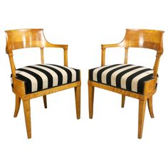 A Pair of Swedish Neoclassical Tiger Birch Arm Chairs
