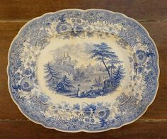 Your place to buy and sell all things handmade Victorian Design, Decorative Plates, Blue And White, Antiques, Platter, Tableware, Vintage, Etsy, Antiquities