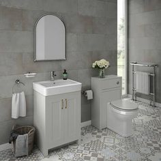 Chatsworth Traditional Grey Vanity - 560mm Wide In Bathroom Image