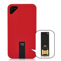 Matte  Smooth Hard Case Cover with 4GB USB Flash Drive For iPhone 4/4S - Red