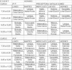 Comparaciones: Horarios de clases