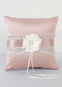 """Trimmed with delicate lace, this ring bearer pillow has the perfect vintage charm while incorporating your David's Bridal exclusive wedding colors. Embellished with a satin flower and pearl and seed bead center, this pillow is the perfect compliment for your wedding day. Features and Facts: Size: 8"""" square Made of satin and lace with faux pearl and seed beadsA smooth fabric often used in bridal gown design because of its exquisite drape.A smooth fabric often used in bridal gown design…"""