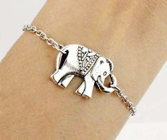 Antique Silver/Bronze Elephant Bracelet Elephant Charm Chain Personalized Bracelet Birthday Friendship Graduation Gift,Daily Jewelry,Christmas Gift,Wholesale Or Retail By DelicateGift on Luulla