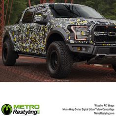 Metro Large Digital Urban Yellow camo truck wrapped by ACI Wraps. Camo Truck, Armed Forces, Vivid Colors, Picture Video, Camouflage, Digital Prints, Monster Trucks, Wraps, Urban