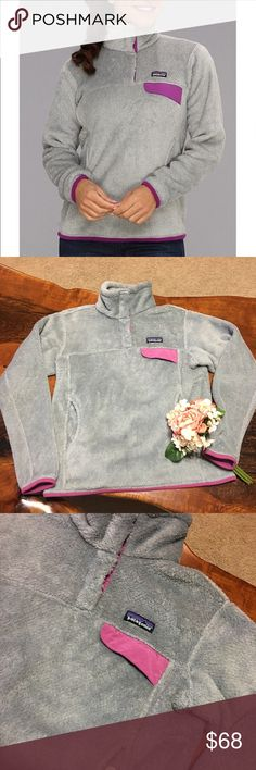 💜PATAGONIA RE TOOL SNAP T PULLOVER💜 IN Good CONDITION! NO STAINS NO HOLES! The Patagonia Women's Re-Tool Snap-T Fleece Pullover is made of Lightweight, deep-pile Polartec Thermal Pro polyester fleece, most of which is recycled.  100% polyester fleece (51% recycled) has extra-long fibers to retain warmer. Kangaroo-style handwarmer pocket Patagonia Sweaters