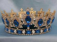 Sapphire, diamond, and gold tiara/crown. Royal Crowns, Royal Tiaras, Tiaras And Crowns, Royal Crown Jewels, Pageant Crowns, Royal Jewelry, Vintage Jewelry, Gold Jewelry, Bling Bling