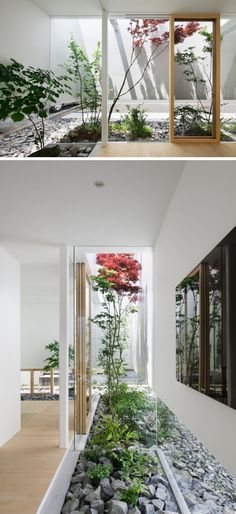 11 Inspirational Rock Gardens To Get You Planning Your Garden | This rock garden exists both inside and outside of this Japanese house.