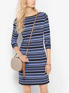 Striped Matte-Jersey Dress by Michael Kors