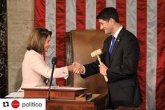 #Repost @politico ・・・ @nancypelosi hands @speakerryan the speaker's gavel after he was overwhelmingly reelected speaker of the House on Jan. 3, 2017. Only one Republican, Rep. Thomas Massie (R-Ky.), voted against him. | : @smahaskey  #paulryan #nancypelosi #house #houseofrepresentatives #congress #politics #dc #uscapitol #washington #washingtondc #democrat #republican