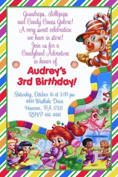 candyland party birthday Candyland Birthday Cake, Cake a cake. Birthday Party Invitations, Birthday Party Themes, Birthday Ideas, Invites, Birthday Stuff, Candy Land Invitations, Printable Invitations, Birthday Candy, 3rd Birthday