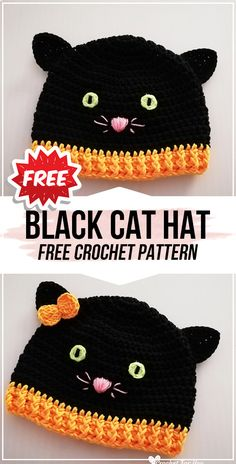 crochet Halloween Black Cat Hat free pattern crochet Halloween Black Cat Hat free pattern,Häkeln und Stricken Klamotten crochet Halloween Black Cat Hat free pattern – easy crochet halloweenhat pattern for beginners There are images. Chat Crochet, Easy Crochet Hat, Crochet Simple, Bonnet Crochet, Crochet Kids Hats, Free Crochet, Baby Hat Crochet, Kids Crochet Hats Free Pattern, Crochet Cats