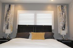 Love This Master Bedroom S Decor Our Plantation Shutters Look Great Behind The Headboard Interior