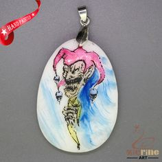 STONE  NECKLACE COLORING PAGES CLOWN PENDANT WHITE GEMSTONE ZL7001041 #ZL #Pendant
