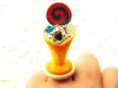 Kawaii  Ring  Miniature Food Ring Ice Cream by SouZouCreations, $12.00      #etsy #jewelry #jewellery #shopping #woman #girl #etsy #handmade #food #yummy #gift #present #dollhouse #accessory #accessories #harajuku #tokyo #fashion