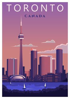 Toronto travel poster retro vintage wall art print Ontario Canada skyline ------- What will I get? Poster Retro, Poster City, Toronto Travel, Travel Wall, Design Poster, Travel Illustration, Vintage Wall Art, Art Graphique, City Art