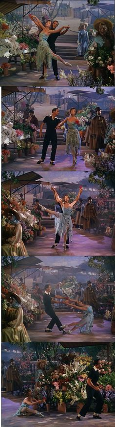 Gene Kelly and Leslie Caron at the flower market, together for the first time in An American in Paris number. 1951