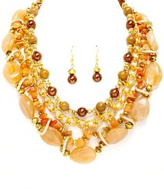 Brown Interlaced Chunky Necklace Set