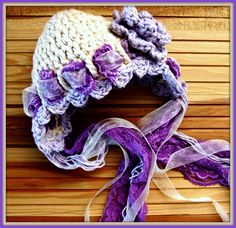 Cotton Purple and Biege Crochet Baby Hat with Lace by imomzi