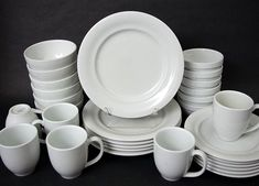 Set of 6 Pottery Barn Bistro White Porcelain Salad Luncheon Plates 9\  Japan | Pottery & Set 4 Crown Corning Stoneware Made in Japan Heavy Dinner Plates ...
