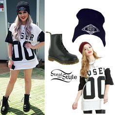 Perrie posed for an instagram photo backstage at T in the Park today wearing a Criminal Damage T-Shirt With Team Loser Print ($47.52). She swapped her patent version for a pair of Dr Martens 1460 Boots in Black Smooth ($120.00). She accessorized with her iamVibes Third Eye Beanie (£25.00).