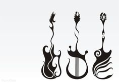 Music tattoo design, guitar tattoos