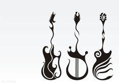 Music tattoo design, guitar tattoos