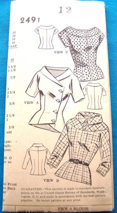 3 Blouses Boast neck, High Neck, Collared [insert your photos of this pattern made up] Robes Vintage, Blouse Vintage, Vintage Tops, Vintage Designs, Vintage Dresses, Vintage Outfits, Dress Making Patterns, Vintage Dress Patterns, Pattern Making