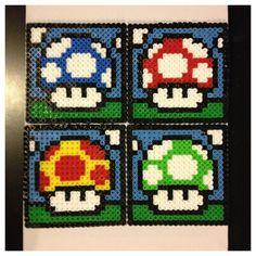 Super Mario Mushroom Perler Coasters