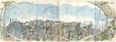 Illustration of the view from Lapin's apartment in Barcelona