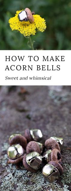Acorn Bells, an easy nature craft for kids, are a sweet addition to gardens, fairy houses, or fall decor.  via @https://www.pinterest.com/fireflymudpie/
