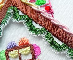 "Detail of my Millefiori-BE.com Brazilian embroidery design, #962 ""Gingerbread House"".  Delicious!"