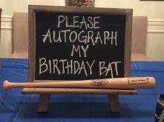 Birthday baseball bat guest sign in