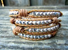 Silver knotted leather wrap bracelet <3
