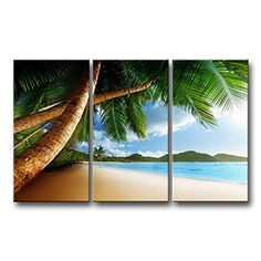 So Crazy Art® 3 Piece Wall Art Painting Beach Caribbean With Palm Tree And Mountain Pictures Prints On Canvas Seascape The Picture Decor Oil For Home Modern Decoration Print So Crazy Art http://www.amazon.com/dp/B00L72M51W/ref=cm_sw_r_pi_dp_fWffxb0GGCHBN
