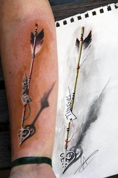 Arrow tattoo. Sketch to finished.