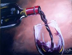 Items similar to Wine Bottle and Glass Painting on Etsy Painted Wine Bottles, Painted Wine Glasses, Glass Bottles, Wine Painting, Bottle Painting, Bottle Drawing, Wine And Canvas, Wine Art, In Vino Veritas