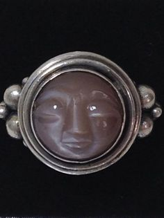 Vintage Sterling Silver Carved Moon Face Ring Size 6.5