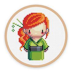 GEISHA GIRL KASAI: a pixel art counted cross stitch par iamnotadoll
