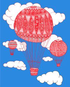 Hot Air Balloon Art Print by Lush Tart   Society6