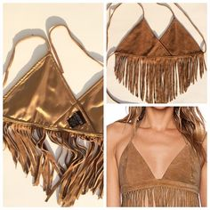 GENUINE LEATHER FRINGE HALTER Graduated V shape fringe 4-10inch long! This is such a cool halter for summer or all year layered under your fav jackets, ties at neck and back, lined in 100%polyester. Genuine leather suede. (#10 Urban Vibe Tops