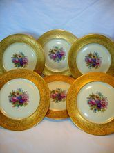 """Wonderful Set of 6 Bavarian Porcelain 11"""" Plates ~ Hand painted with Colorful Dresden Styled Flowers ~ Gold Embossed / Encrusted Rims ~ Heinrich & Co Selb Bavaria 1890+  www.timberhillsantiques@yahoo.com"""