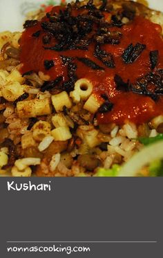 Kushari | Kushari is a delicious Egyptian vegetarian recipe consisting of green lentils, macaroni and rice mixed together with caramelised onions. It is served with a tomato-based sauce, finished with a crispy onion garnish and is best accompanied by a garden salad. Onion Recipes, Sauce Recipes, Indian Food Recipes, Vegetarian Salad Recipes, Best Salad Recipes, Caramelised Onions, Macaroni Recipes, Egyptian Food, Tomato Sauce Recipe