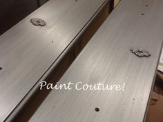 Painted with Silver Star by Paint Couture!(TM) over an old chalk paint finish, CoCo, then glazed with Zinc Glaze Couture! 1 coat of Silver Star one Coat of Zinc Glaze, easy! Glazing Furniture, Metal Furniture, Painted Furniture, Diy Furniture, Silver Paint, Metallic Paint, Raised Ranch Kitchen, Chalk Paint Finishes, Country Chic