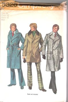 Simplicity 5326 1970s Mens Double Breasted Trench Coat Pattern