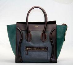 Celine Brown and Green Mini Luggage Bag
