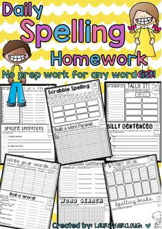 NO PREP Spelling Practice and Word Work for any Spelling List! 4 weeks of differentiated learning activities!