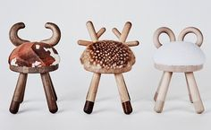 Japanese designer Takeshi Sawada, has designed a collection of quirky and modern stools inspired by farm animals, for EO - Elements Optimal. Dining Room Chair Cushions, Upholstered Chairs, Room Chairs, Dining Chairs, Kids Bedroom Furniture, Modern Furniture, Bedroom Ideas, Bedroom For Girls Kids, Farm Animal Nursery