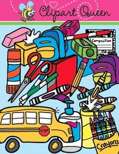 free This package contains 29 colorful back to school supplies and 18 black and white line-art versions!!!-
