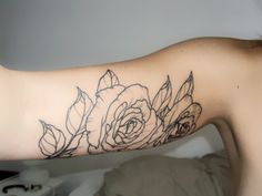 Rose underarm tattoo. great even before/without color.