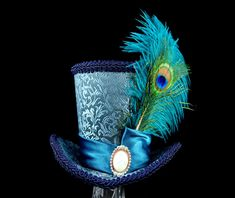 Teal and Blue Peacock Elegant Mini Top Hat by TheWeeHatter on Etsy